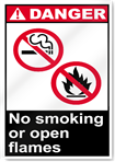 No Smoking Or Open Flames Danger Signs