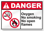 Oxygen No Smoking No Open Flames Danger Signs
