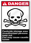 Pesticide Storage Area Unauthorized Persons Keep Out Danger Signs