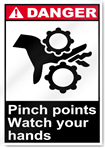 Pinch Points Watch Your Hands Danger Signs