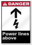 Power Lines Above Danger Signs