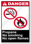 Propane No Smoking No Open Flames Danger Signs
