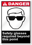 Safety Glasses Required Beyond This Point Danger Signs
