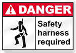 Safety Harness Required Danger Signs