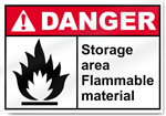 Storage Area Flammable Material Danger Signs