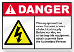 This Equipment Has More Than One Source Danger Signs