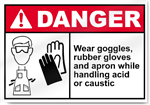 Wear Goggles, Rubber Gloves And Apron While Handling Acid Or Caustic Danger Signs