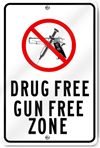 Drug Free Gun Free Zone Aluminum Sign