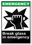 Break Glass In Emergency Emergency Signs