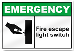 Fire Escape Light Switch Emergency Signs