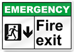 Fire Exit Down Emergency Signs