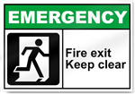 Fire Exit Keep Clear Emergency Signs