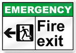 Fire Exit Left Emergency Signs
