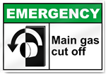 Main Gas Cut Off Emergency Signs