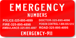 Emergency Numbers Magnet