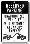 Reserved Parking Unauthorized Vehicles (Graphic) Sign