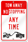 Tow Away No Stopping (Graphic) Metal Sign
