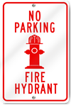 No Parking Fire Hydrant Metal Sign