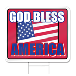 God Bless America Shaped Sign