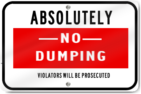 Absolutely No Dumping Road Sign