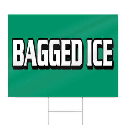 Bagged Ice Block Lettering Sign