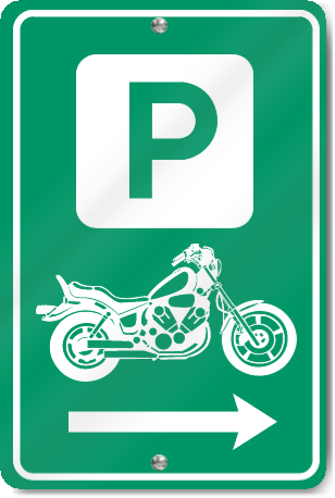 Motorcycle Parking Right Direction Sign