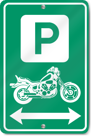 Motorcycle Parking to the Left and Right Sign