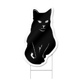 Black Cat Shaped Sign