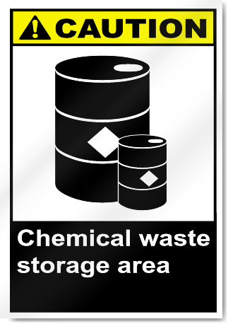 Indoor Vehicle Storage >> Chemical Waste Storage Area Caution Signs | SignsToYou.com
