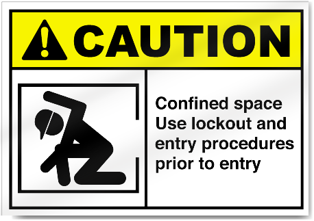 Confined Space Use Lockout And Entry Procedures Prior To Entry Caution Signs