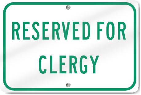 Horizontal Reserved For Clergy Sign