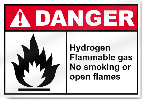 Hydrogen Flammable Gas No Smoking Or Open Flames Danger Signs