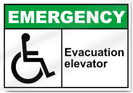 Evacuation Elevator Emergency Signs