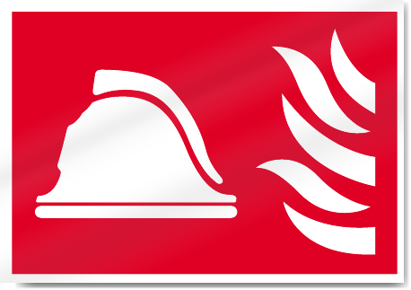 Helmet And Flames Fire Signs