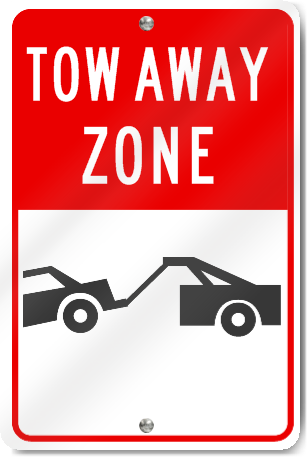 Tow Away Zone (Graphic) Metal Sign