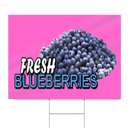 Fresh Blueberries Sign