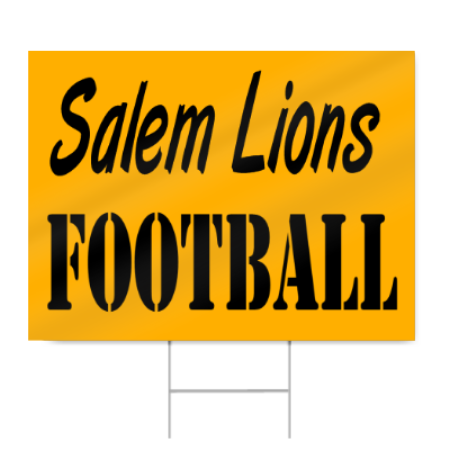 High School Football Sign in School Colors