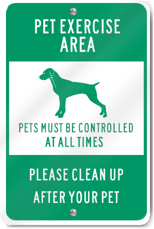 Pet Exercise Area Sign