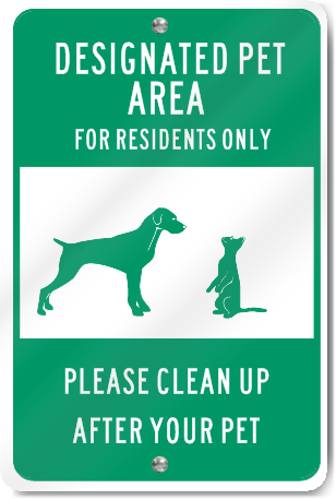 Designated Pet Area For Residents Sign