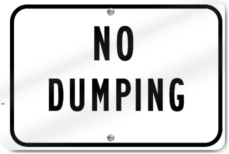 No Dumping Parking Sign