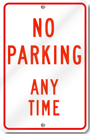 No Parking Any Time Sign in Red