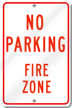 No Parking Fire Zone Sign in Red