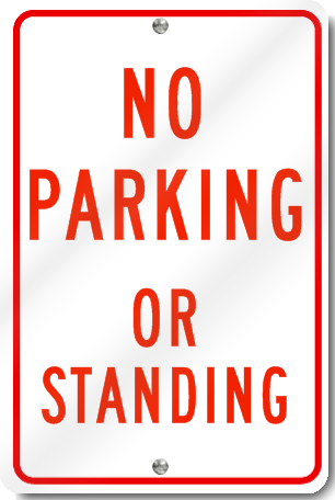No Parking Or Standing Sign in Red
