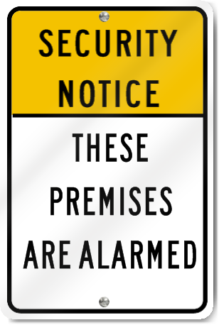 Security Notice Alarmed Sign