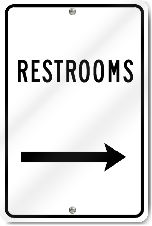 Restrooms Right Arrow Sign