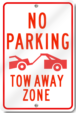 No Parking Tow Away Zone Sign With Graphic