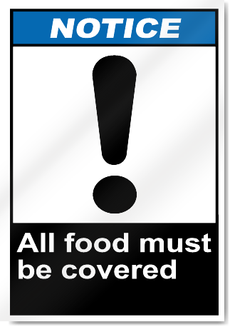 All Food Must Be Covered Notice Signs