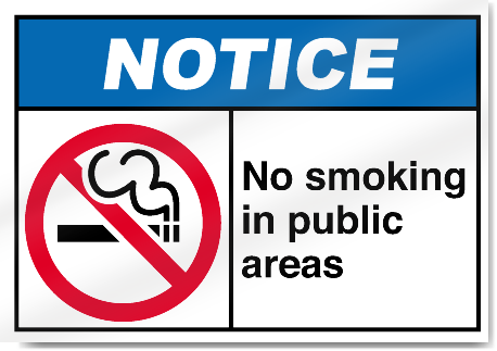 No Smoking In Public Areas Notice Signs