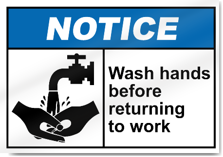Wash Hands Before Returning To Work Notice Signs