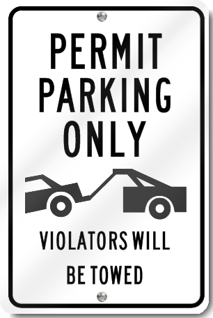 Permit Parking Only Violators Will Be Towed Sign